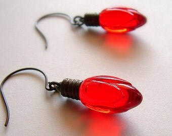 Christmas Light Earrings Red Holiday Dangle Earrings Christmas Jewelry Vintage Light Bulb Charms Holiday