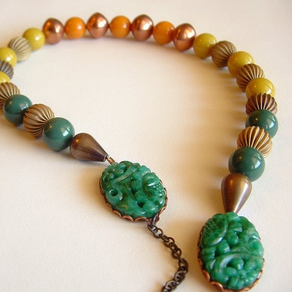 Carved Stone Necklace Vintage Lucite Brass Beads Fall Jewelry Emerald Chartreuse Mustard