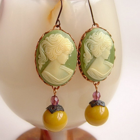 Vintage Cameo Earrings Olive Chartreuse Victorian Lady Cameos Victorian Jewelry