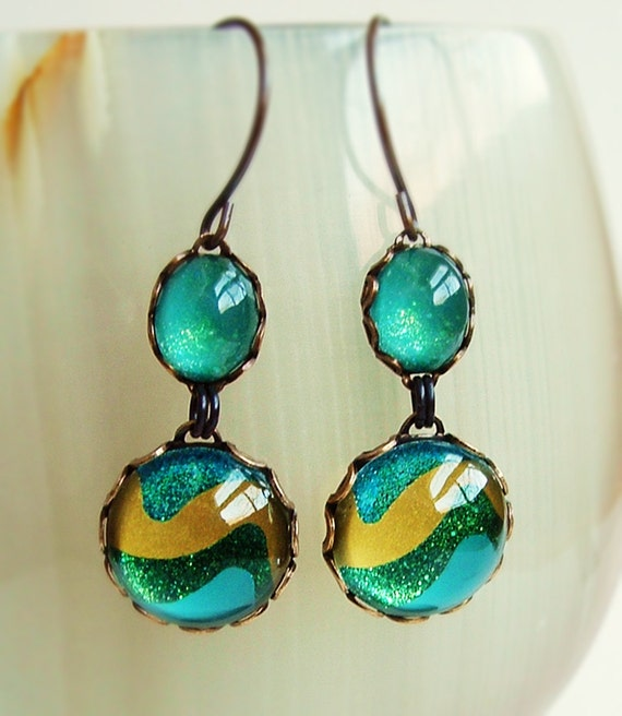 Blue Green Glitter Earrings Vintage Domed Glass Nail Polish Jewels Turquoise Chartreuse Aqua