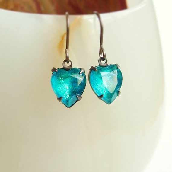 Small Blue Earrings: Small Blue Heart Jewel Earrings Vintage Reverse Painted Glass