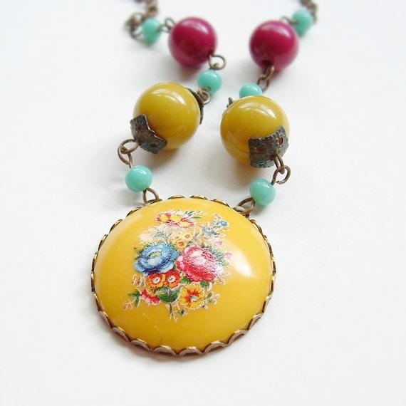 Yellow Flower Pendant Necklace Vintage Floral Cameo Retro Colorful Bouquet