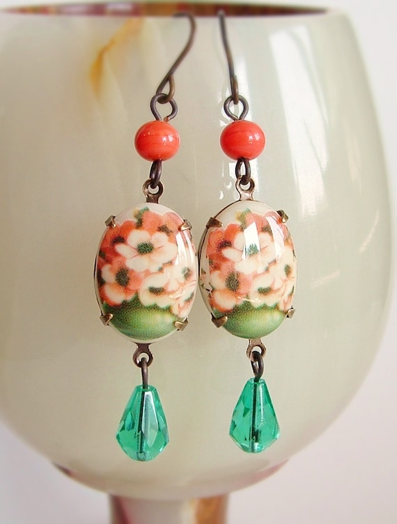 Floral Cameo Earrings Vintage Poppy Flower Limoges Cabochons Peach Coral Aqua Bouquets