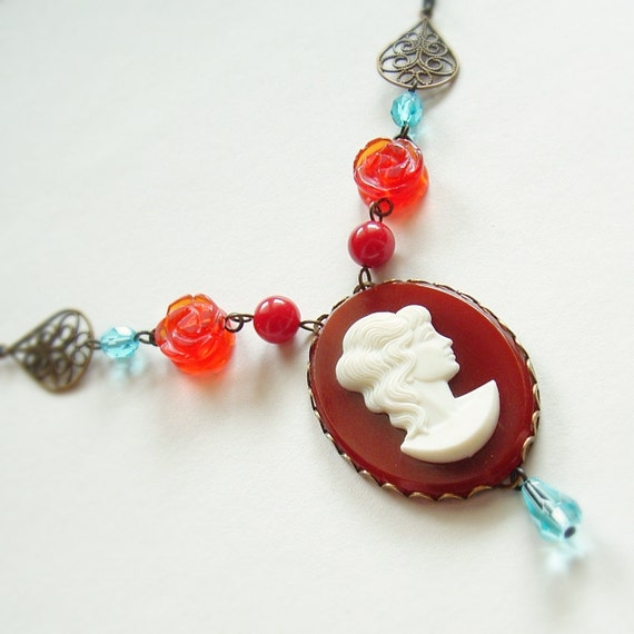 Cameo Necklace Large Red Vintage Portrait Cameo Pendant Red Blue Victorian Statement Jewelry