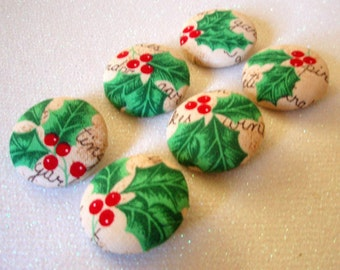 Buttons - Holly Berry Fabric-Covered Buttons - Seasonal Winter Christmas Holiday Buttons