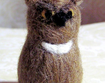 Felted Owl - Grumpopotomus the Needle Felted Great Horned Owl - Brown White Wool Owl - Plush Soft Sculpture Miniature Decoration - Figurine