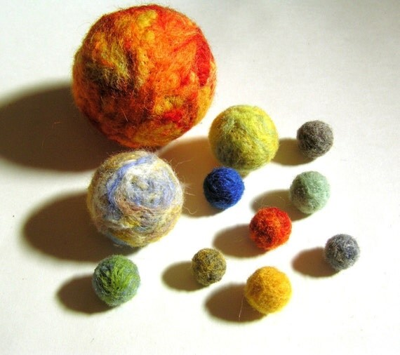 Solar System And Planet Toys : Needle felted solar system universe planets sun moon