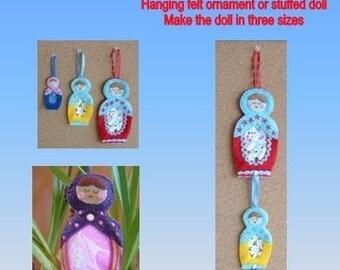 Doll Sewing Pattern - Felt Russian / Matryoshka Doll - PDF Format