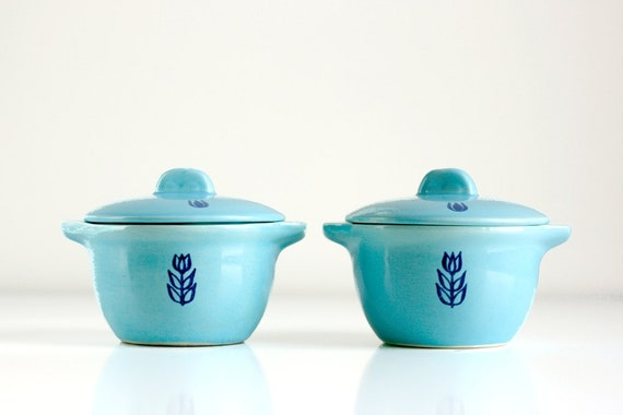 Mid Century Aqua Cronin Small Casserole Dishes