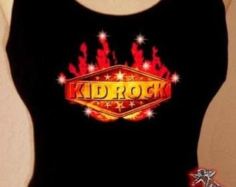 Kid Rock Band Concert Rhinestone Crystal Tee T Shirt Tank Top
