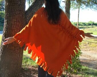 Flaming Orange Mink Fleece Poncho