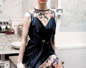 Madalena Black and Floral Silk Full Length Dress Gown
