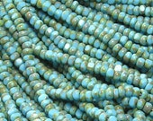7/0 3 Cut Opaque Blue Turquoise Picasso Firepolished Czech Glass Seed Bead Strand