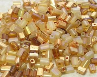 5x3mm Egyptian Gold Mega Mix Czech Glass Baby Pillow Beads 10 Grams (CS155)