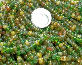 6/0 and 5x3mm Irish Spring Picasso Firepolished Mixed Czech Glass Bead 3 Strand Hank (DW198)