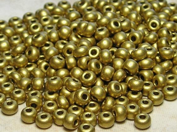 6/0 SILKY Metallic Dutch Gold Czech Glass Seed Beads 20 Grams