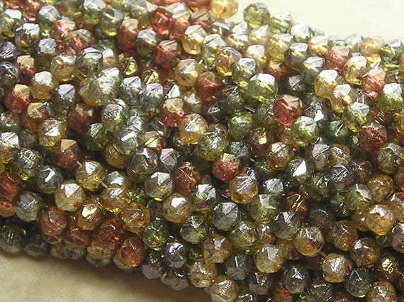 3mm Faceted Desert Jewels Picasso Lumi Luster Vintage Cut Firepolished Czech Glass Beads (A98)