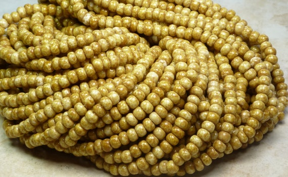4/0 (5x4mm) Opaque Sandstone Picasso Czech Glass Seed Bead Strand 20 Inches (C341)