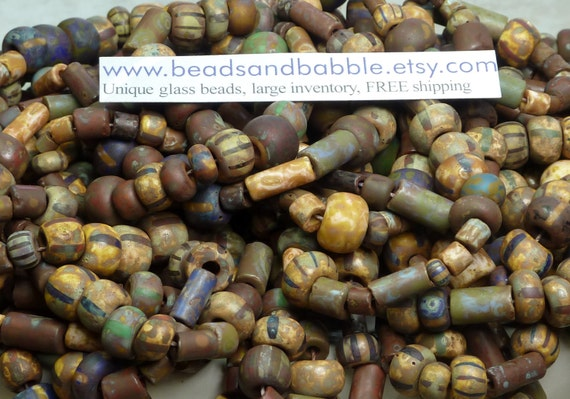 Matte 32/0 (7x5mm) , 3/0 (6x5mm) Opaque Striped Picasso Seed, Bugle (Various Sizes) and 5mm Tile Czech Glass Bead Mix 6 Strand Hank