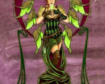 Steampunk Gothic Absinthe Art Noveau Fairy Art Print