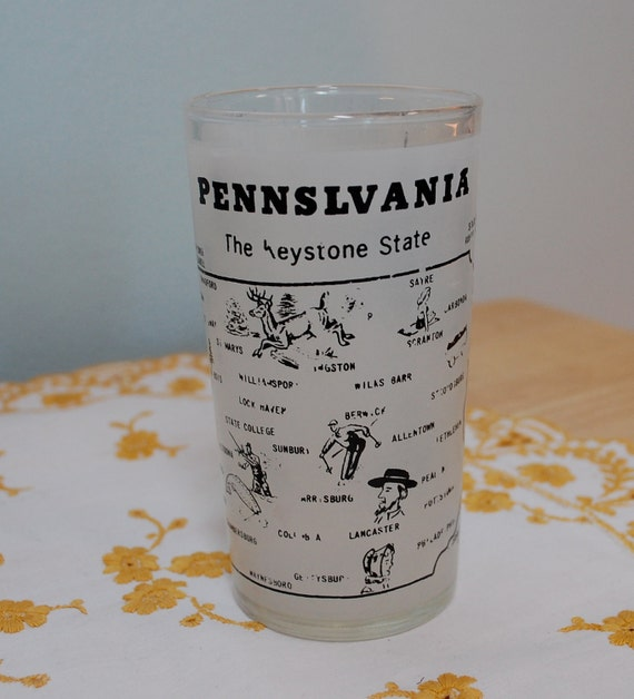 Vintage Hazel Atlas Frosted PENNSYLVANIA glass SPELLED WRONG
