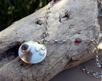 Modern Garnet and Sterling Domed Pendant Necklace