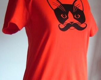 Womens Short Sleeve Tee. Mustache Kitty Cat. Poppy Red Orange.