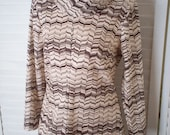 Dress, Brown and Beige Knit with Cowl Neck and Long Sleeves - Size M