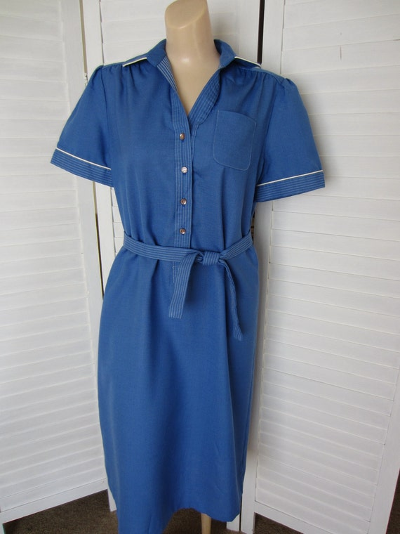 Dress, Shirtdress Blue with Short Sleeves - Size M