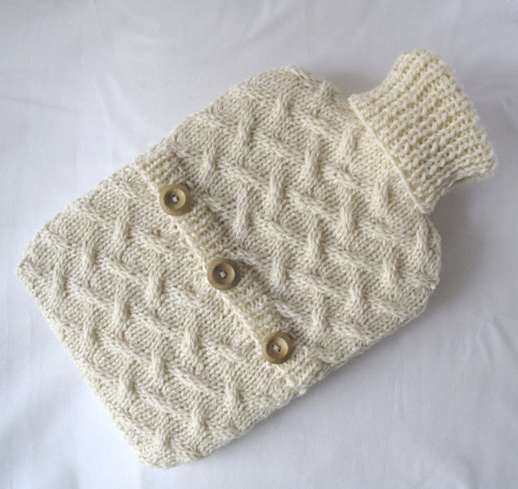 Rustic cream hot water bottle sweater, hand knit in luxurious pure new wool, with wood buttons - READY TO SHIP, by A Crooked Sixpence
