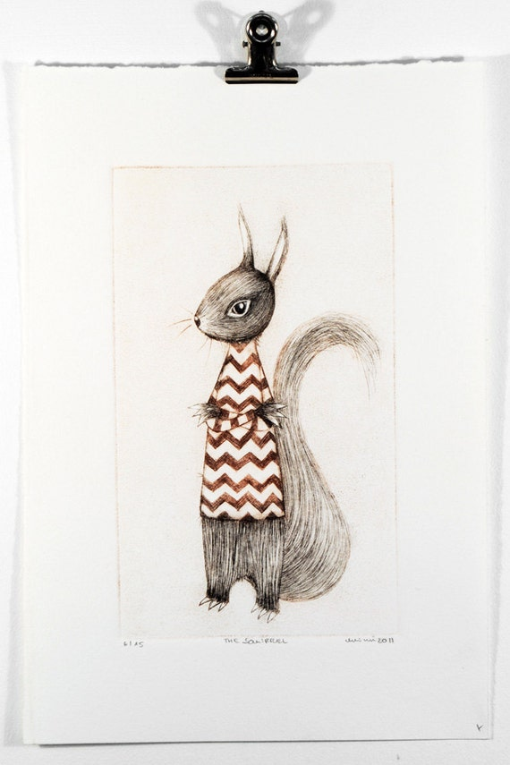 Afternoon Tea No. 10, The Squirrel (red), Drypoint