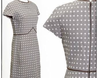 Vintage Brown and White Checkered Dress, Designer, Shannon Rogers, Union Made