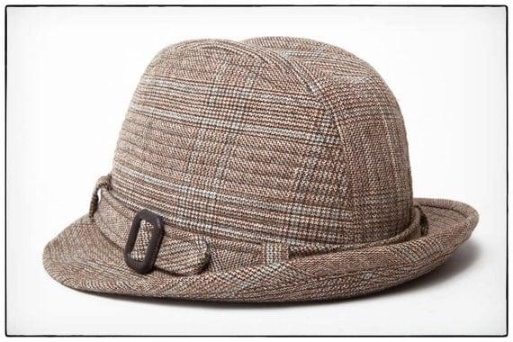 1950's Vintage Men's Cavanagh Fedora Hat, Wool ,Tweed, Plaid, Mad Men, vestiesteam