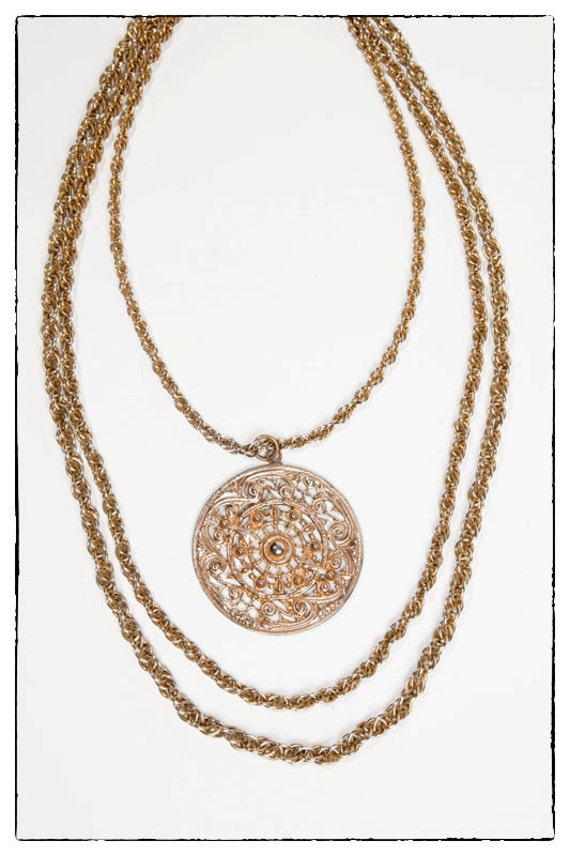 Vintage Gold Statement Necklace with Triple Chain