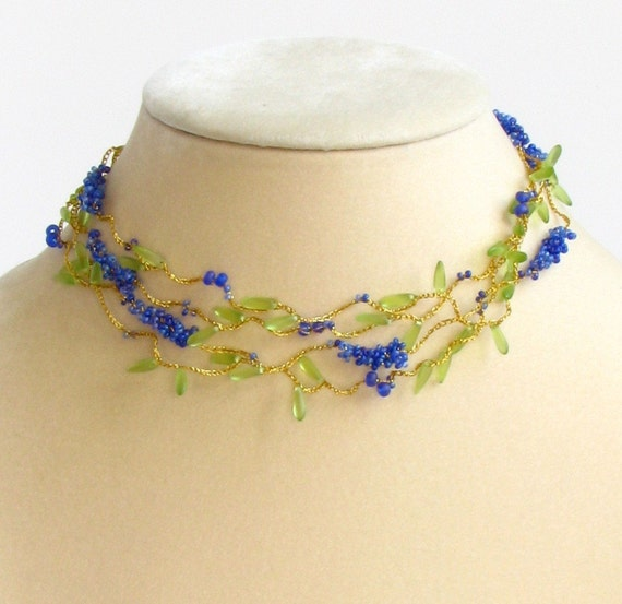 Floating Flower Necklace - Frosted Royal Blue Berry Vine with Chartreuse Green Leaves Wrap Around Choker - 72 inch - Woodland Wedding Style