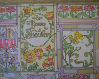 Vintage Gift Wrap Shower Wrapping Paper 1970s-Pastel Nouveau-2 Sjeets NIP