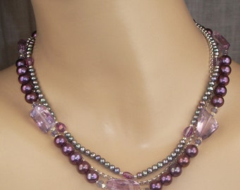 Pearl Choker Plum Amethyst Multistrand Gemstone Necklace Pearl Chunky Statement Pink Amethyst Luxury Collar