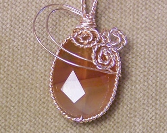 Banded Honey AGATE Faceted Gemstone Gold Wire Wrap Necklace Pendant SALE
