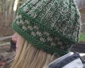 Beanie cap hat custom hand knit ski snowboard sports dark green neutral - Evergreen