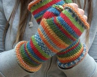 Fingerless gloves striped wool hand knit - Kandinsky