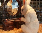 White Rabbit Photo Print, Bunnies Shouldn't Wear Make Up, Easter Art