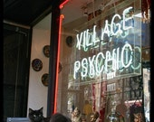 Black Cat, New York City Shop Window Neon Sign Photo Print, Village Psychic, NYC Photography