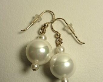 Karina's Pearl on Pearl on Pearl 14K GF Wire Dangle Earrings Beautiful Sophisticated Bride