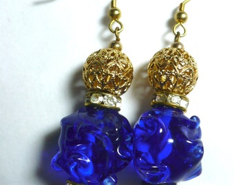 Karina's Vintage Japan Cobalt Glass 18mm Ruffle Bead Fashion Dangle Earrings w. Vintage Monet