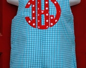Applique Monogram Longall or Shortall Sizes 3 mon- 4T Different Colors Available