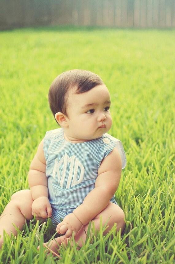 Boys Baby Blue Gingham Romper with Monogram sizes 3mon-4T