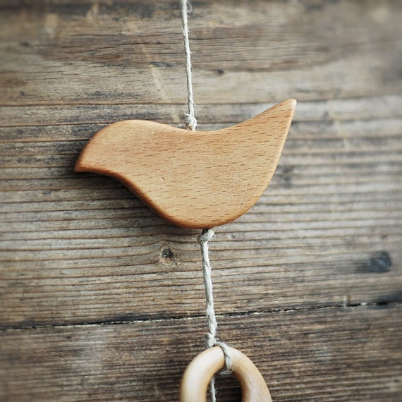 1 Big birdie pendant in beech wood