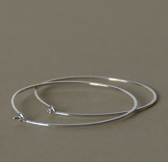 "Large Sterling Silver Hoop Earrings. Choose your size: 2"", 1.5"" or 1"" LIGHTWEIGHT"