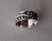 Wedding Band Dew drop Men's single Band 6.5mm sterling textured