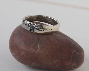 Tree of Life Men's 14K Single Band 5mm sizes 9 to 13 Wedding Ring unisex his-hers